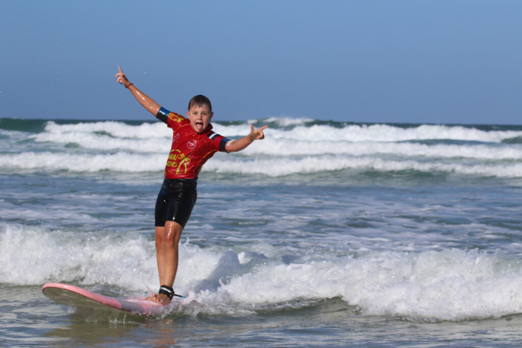 Gwithian Global Boarders Cornwall learning to surf