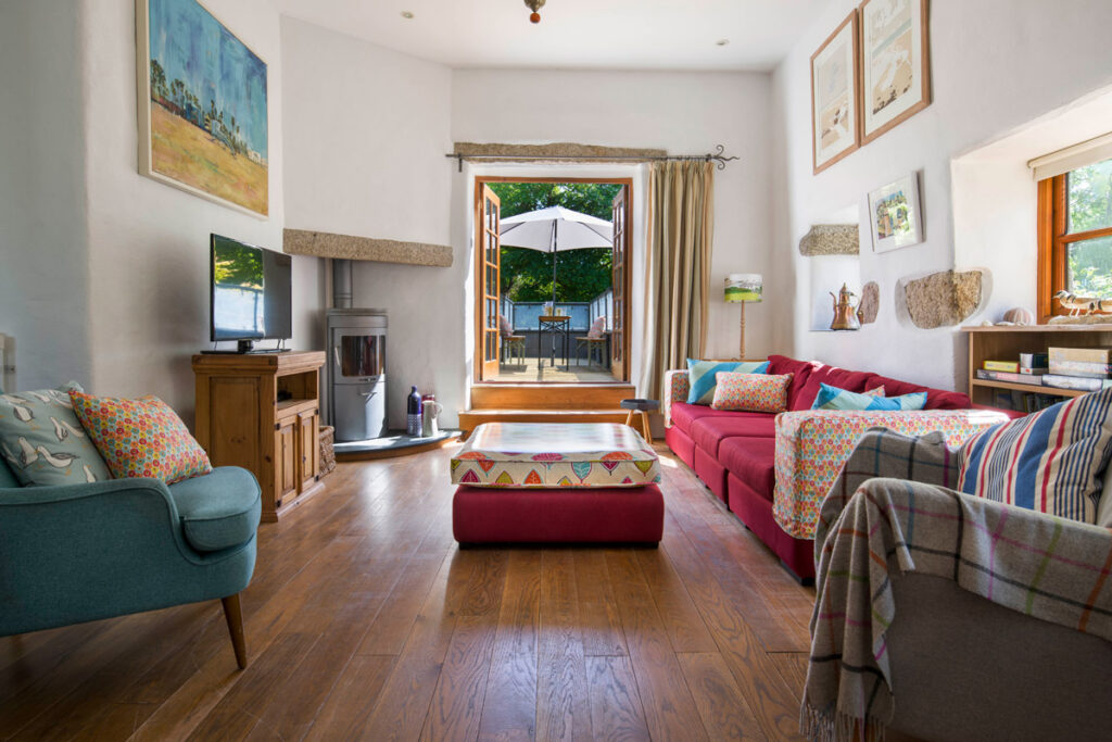 Living area at An Skiber Barn dog friendly holiday accommodation in Constantine near Falmouth