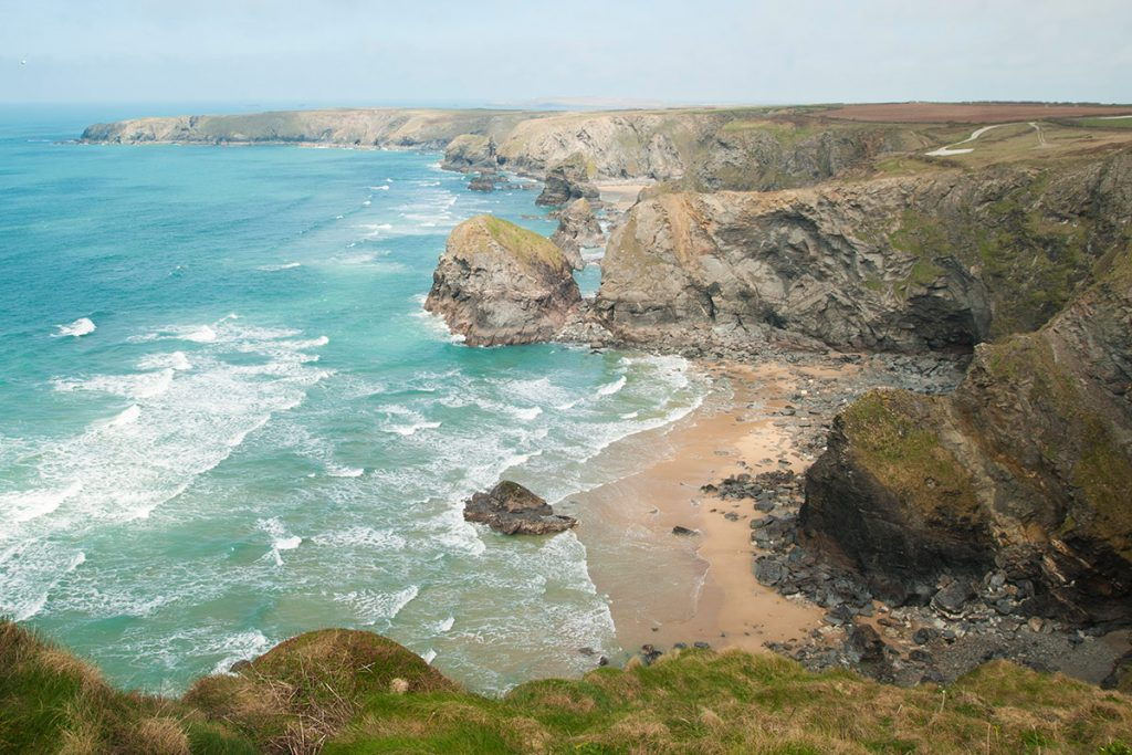 Bedruthan Steps at Mawgan Porth near holiday cottages by Forever Cornwall