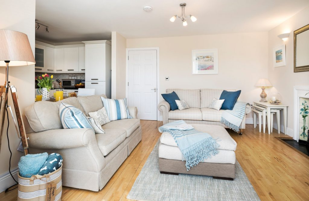 Lounge at Captain's Rest Self Catering Dog-friendly apartment St Ives by Forever Cornwall