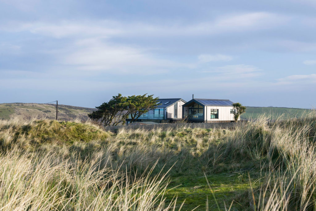 View of Dune Lodge luxury holiday accommodation in the dunes at Gwithian