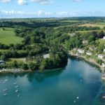 Aerial view of the Helford River close to dog friendly holiday cottage called Little Wood On The Helford