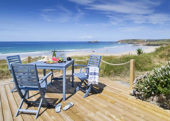 Sea views from chalet at Gwithian Towans - Surfside Beach Chalet from Forever Cornwall