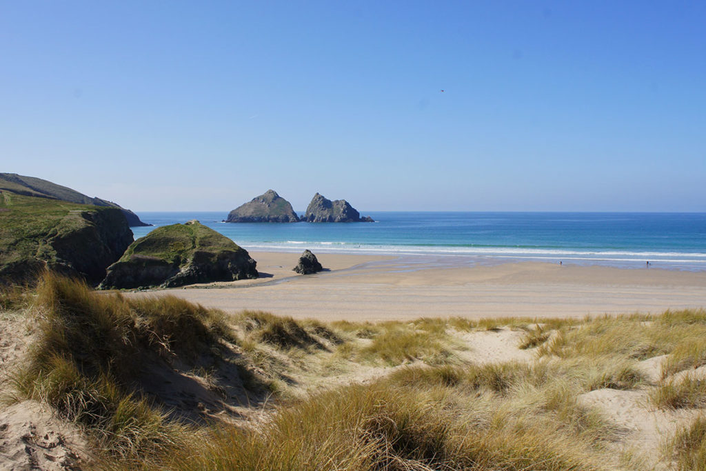 Beach at Holywell Bay near holiday cottages by Forever Cornwall