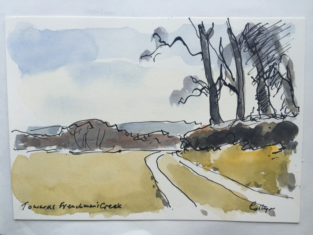 Watercolour painting of area around Mowhay Barn holiday cottage near Helford