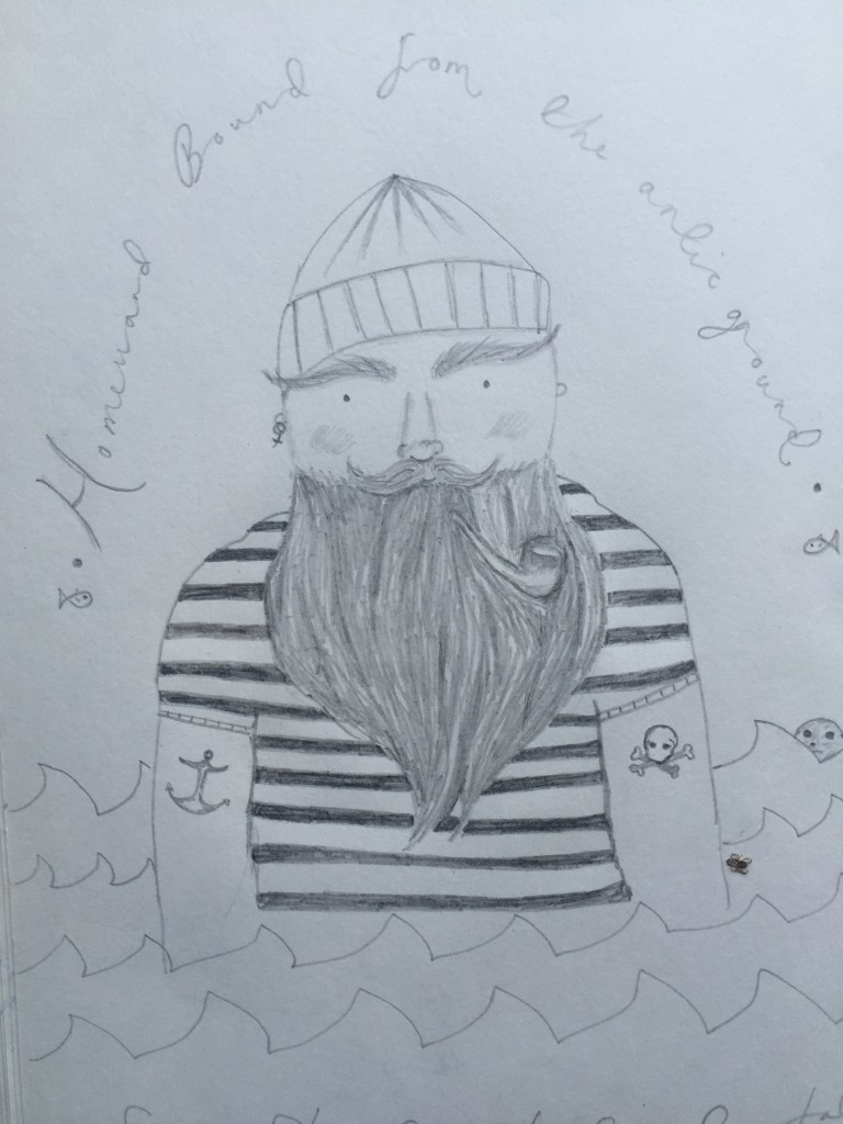 Drawing of bearded man in visitor book of Mowhay Barn holiday cottage