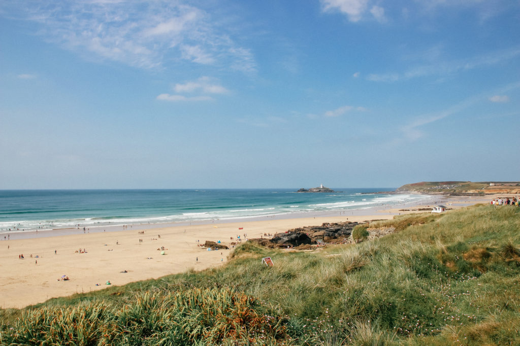 View of Godrevy and Gwithian beach near Dune Lodge holiday house