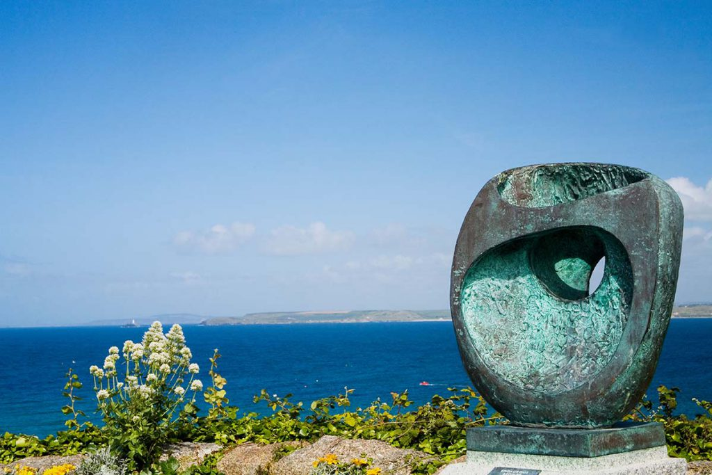 St Ives Scenic Viewpoint Over The Atlantic Ocean With Barbara Hepworth Epidaurous Bronze Statue Which She Donated To The Town Of