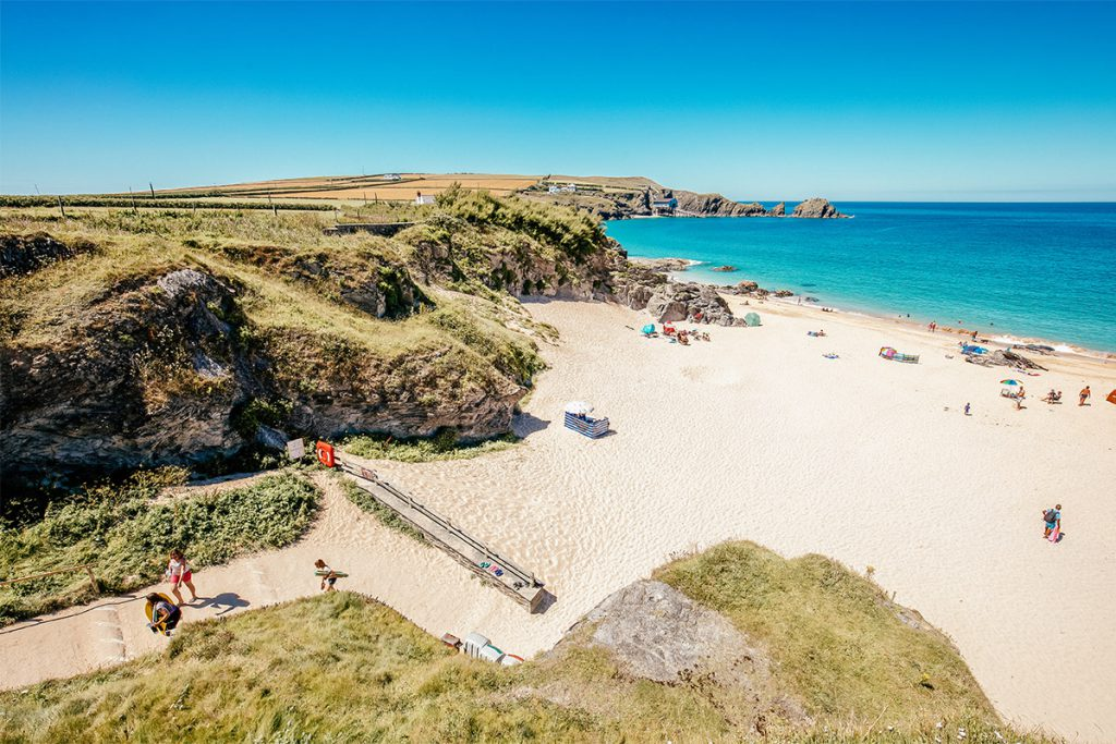 People on holiday on a North Cornwall beach