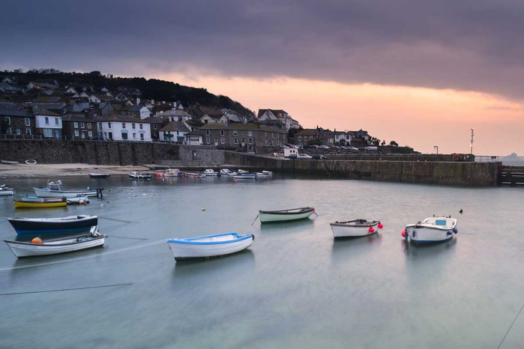 Mousehole Harbour With Boats