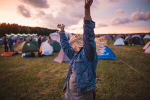 woman celebrates at festival