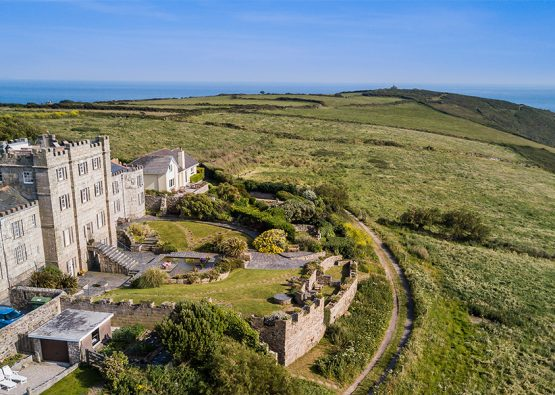 Cornwall Holiday Apartment Acton Castle From The Air 0290 Big Blue Sky