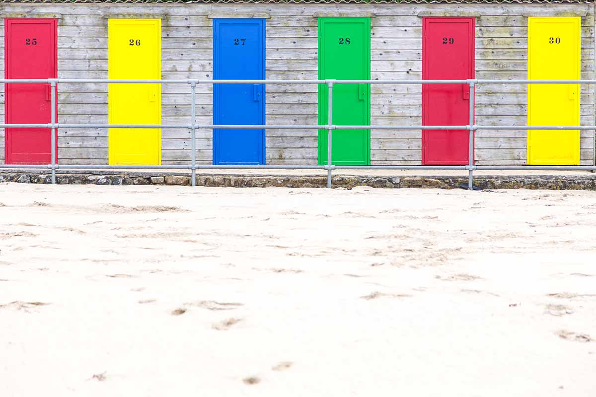 Colourful Changing Rooms At Porthminster Beach, St. Ives