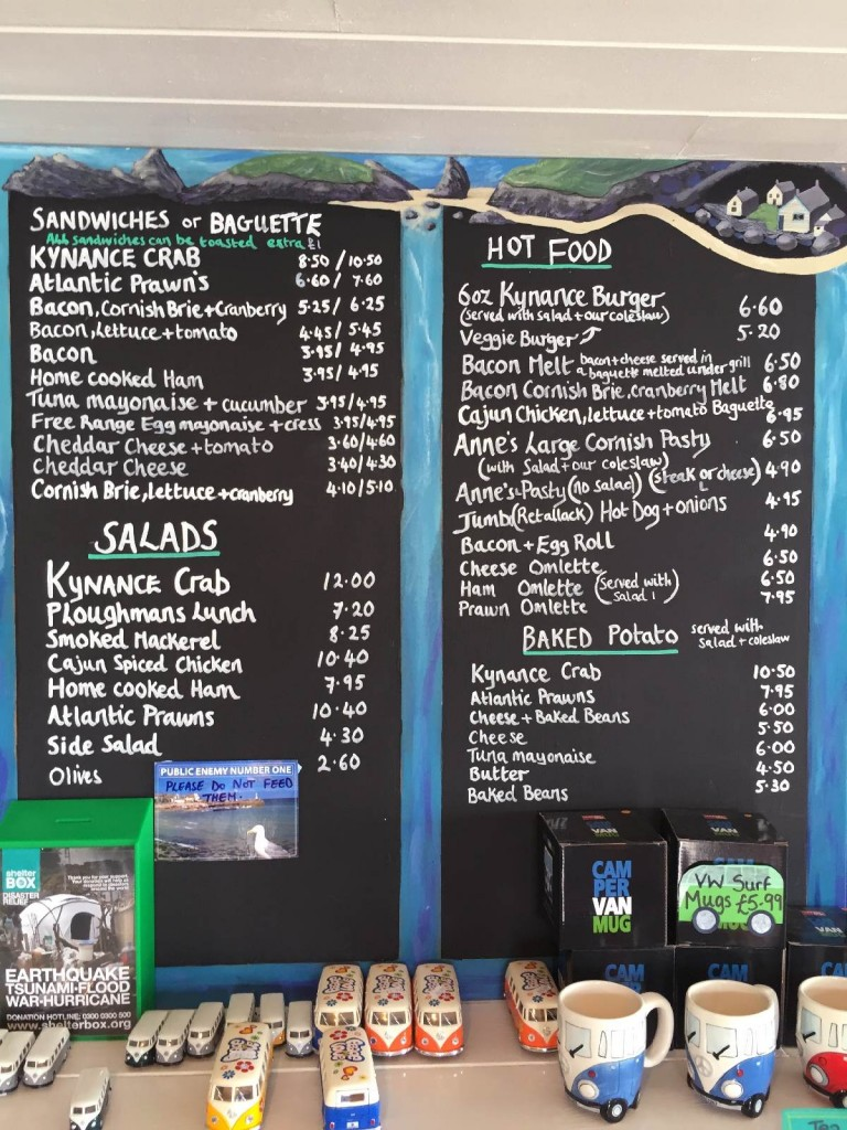Forever Cornwall Kynance Cafe Menu Board