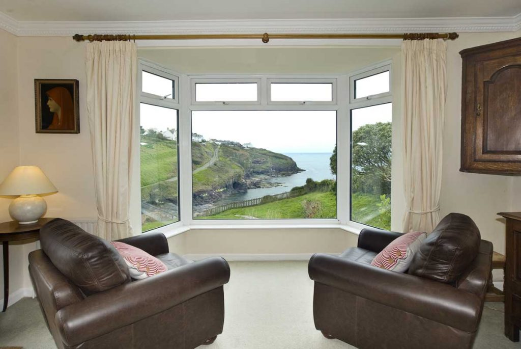 View from lounge at large holiday apartment in Port Gaverne from Forever Cornwall