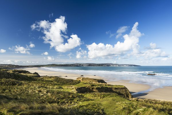 Gwithian Towans photo showing beaches all the way to Hayle estuary.