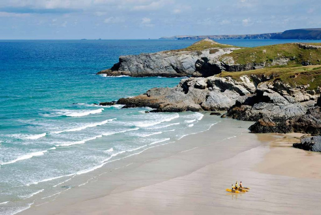 Lusty Glaze Beach At Newquay In Cornwall, Uk